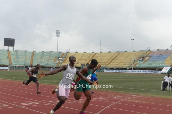 Folarin Jare celebrated as he crossed the line to win men's 100m B final