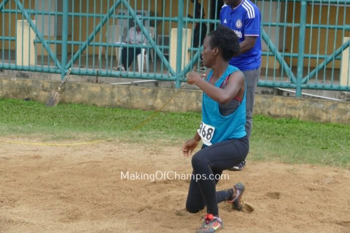 Okoronkwo taking a leap in the sands in women's Long Jump
