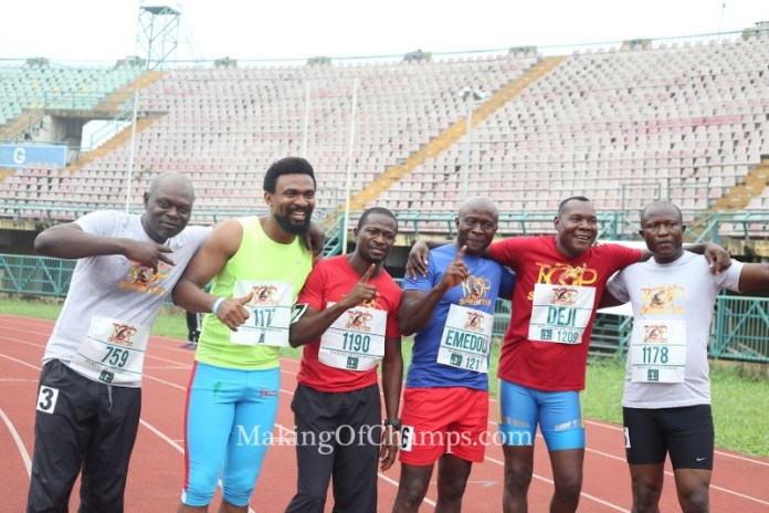 Old rivalries were re-ignited in the 100m Masters race on Saturday.