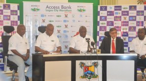 L -R: AFN President Solomon Ogba; GMD/CEO of Access Bank Herbert Wigwe; Executive Governor of Lagos State Akinwunmi Ambode; MD Seven-Up Bottling Company Sunil Sawhney, and Consultant to the Lagos State Government Bukola Olopade at the World Press Conference  held on 20th November 2016 to herald the 2017 Lagos City Marathon.