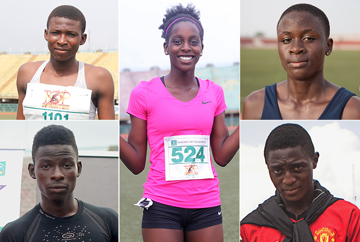 The five new athletes joining the MoC track club this year: Blessing Obarierhu (top left) Blossom Akpedeye (centre) Glory Nyenke (top right) Segun Akhigbe (bottom left) Saheed Jimoh (bottom right)