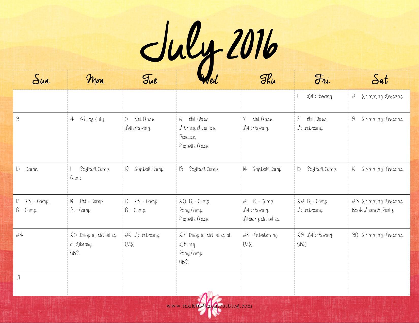 July 2016 (FREE Printable!) Super Summer Calendar | Making the Most Blog