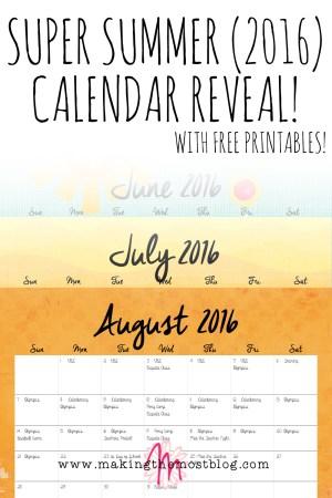 Super Summer 2016 FREE! Printable Calendar Reveal!