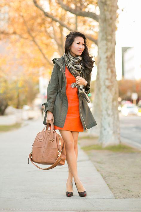 orange dress and army
