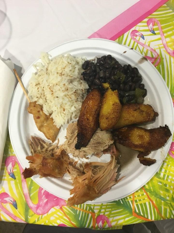 Cuban pork, plantains, black beans and rice