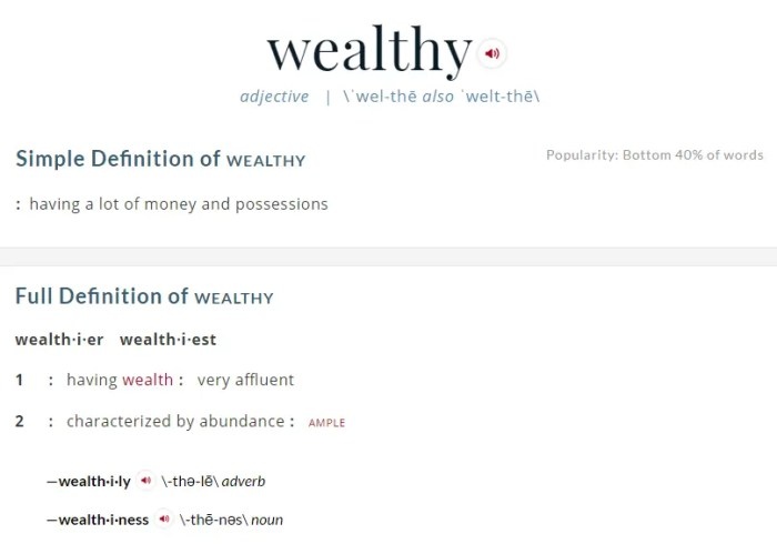 Definition of Wealthy