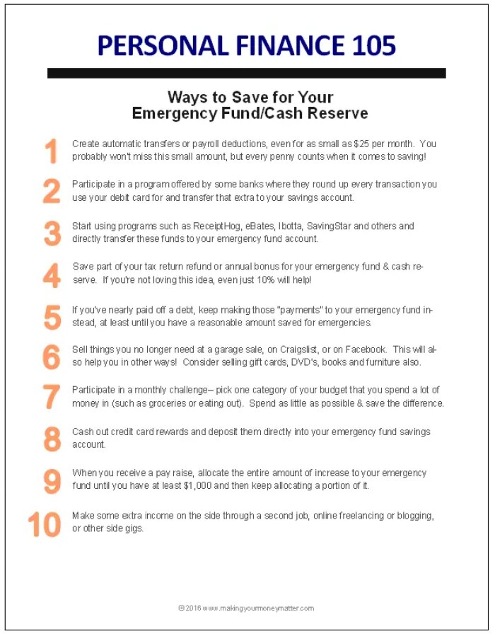 Emergency Fund Handout - 10 ways to save for your emergency fund