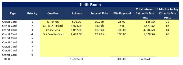 Example Credit Card Payoff Spreadsheet Input