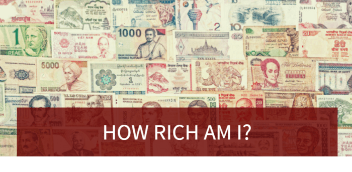 How Rich Am I? This online calculator tells you how you rank among the world's population based on your income and household size.