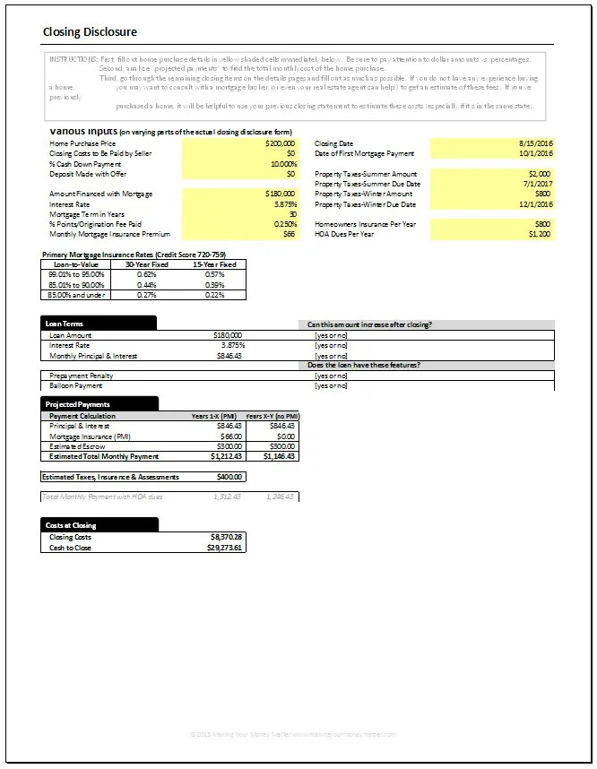 Closing Disclosure Page 1