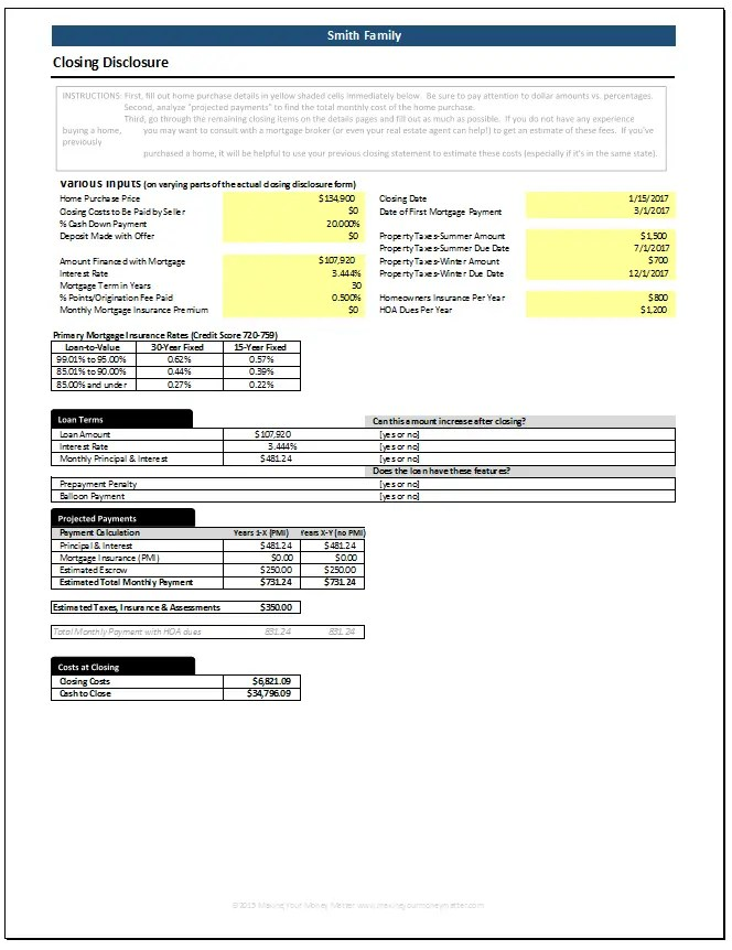 Smith Example Closing Costs 1