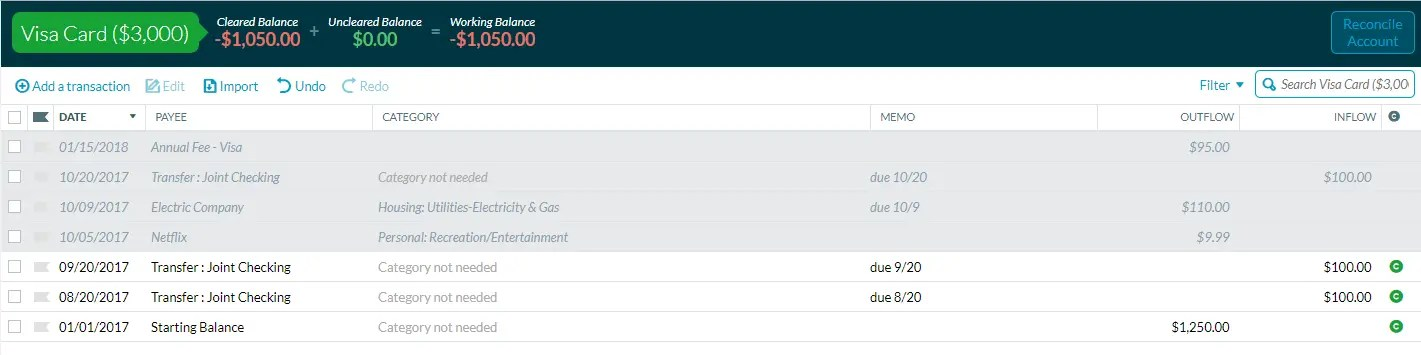 Using YNAB to track automatic payments on a credit card.