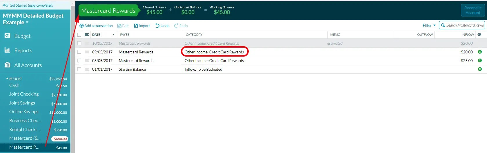 Using YNAB to track credit card reward balances.