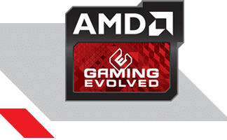 Red and Black AMD Gaming Evolved Logo