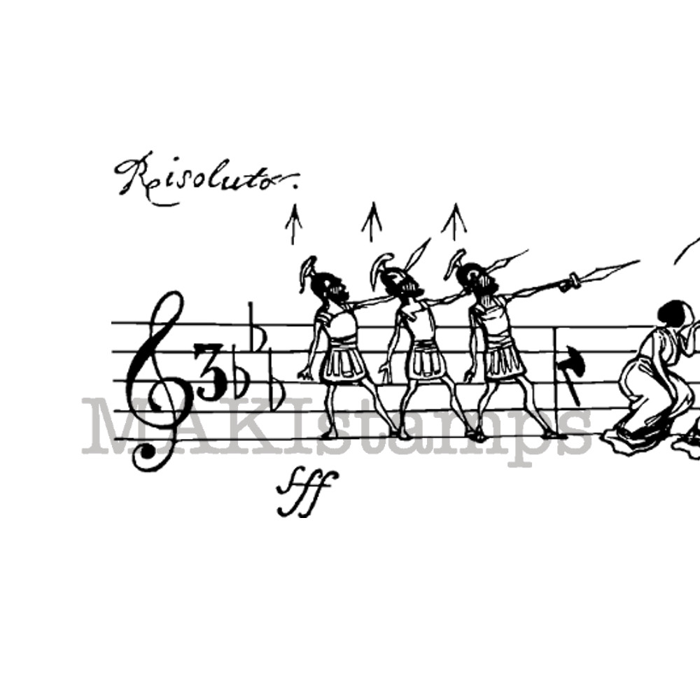 Rubber stamp music scale Honoré de Grandville (180713