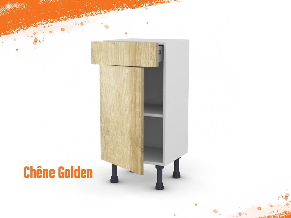 meuble bas chene golden 40 cm faible profondeur facade 1 porte 1 tiroir