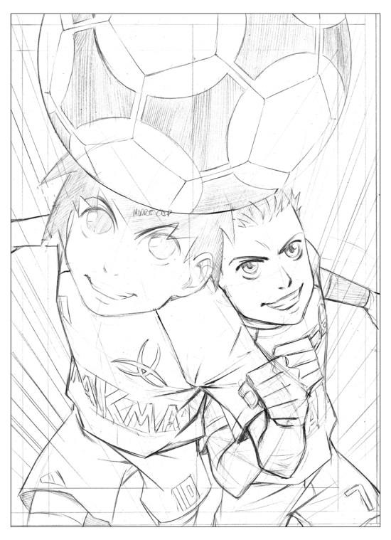 Crayonné de la couverture du manga L'équipe Z