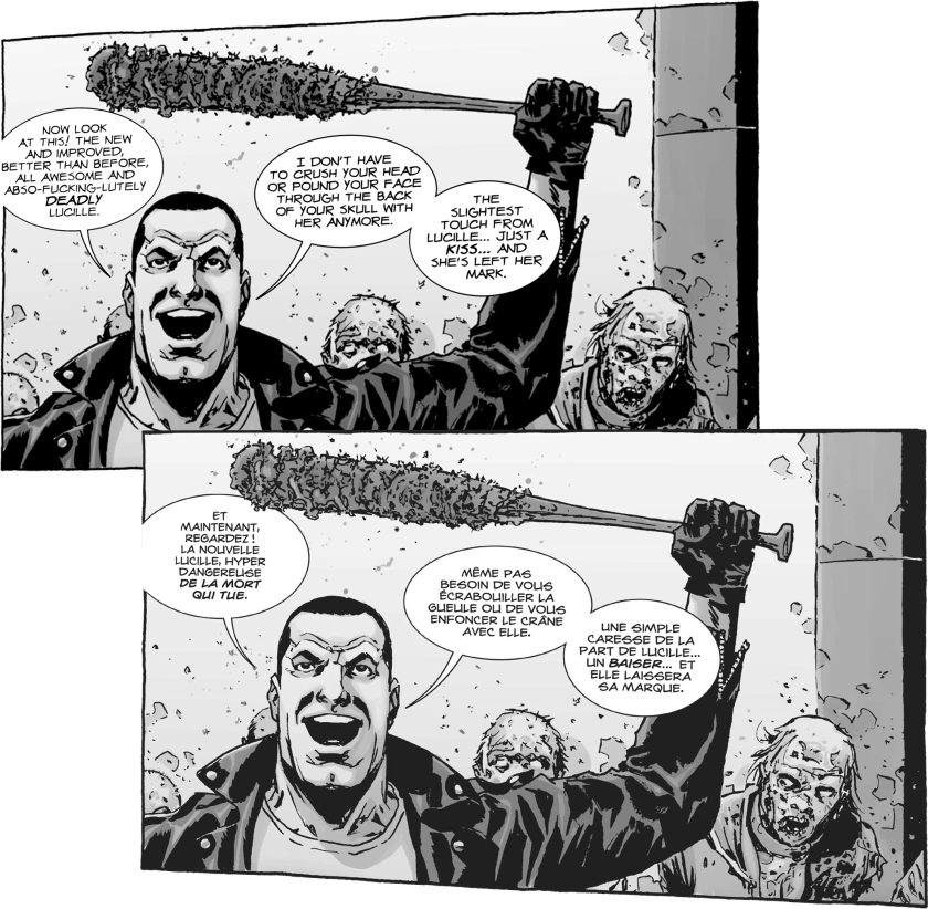 Agence de traduction BD, de transcréation et de localisation : MAKMA. Illustration The Walking Dead (TWD) Negan © Skybound Entertainment et © Groupe Delcourt pour la VF. MAKMA's been translating and lettering comics since 2001.