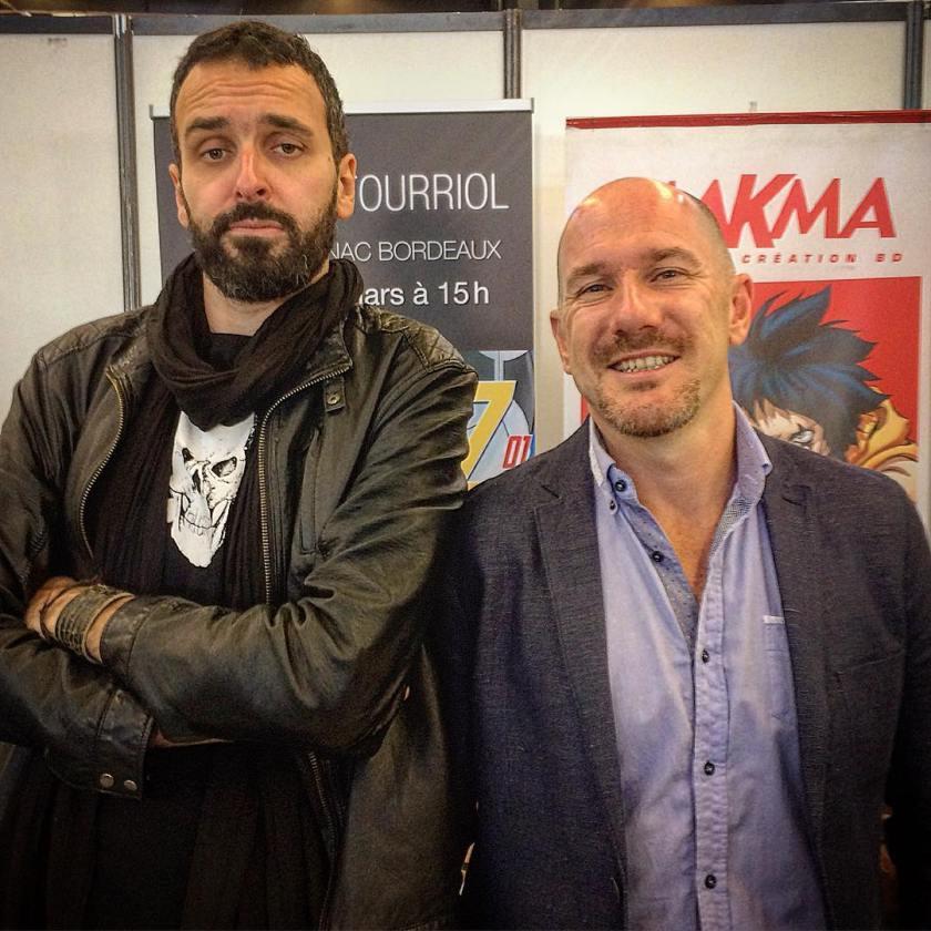 Dominique Clère et Edmond Tourriol sur le stand MAKMA lors du festival Animasia en 2017.