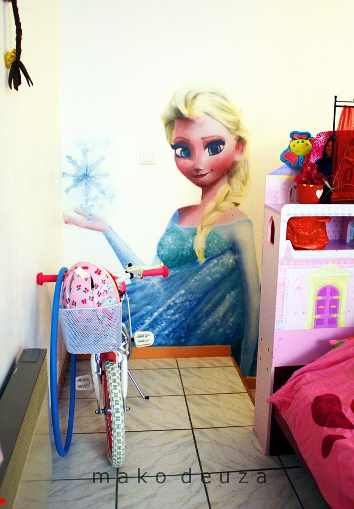 Déco, peinture, chambre enfant, la reine des neiges, frozen, graffiti, Disney