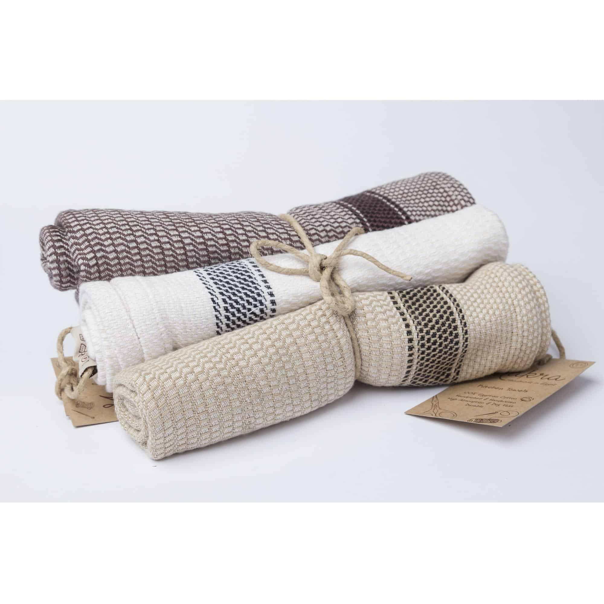 kitchen towels aid hood set of 3 tea and handwoven egyptian cotton makrashop towel classic