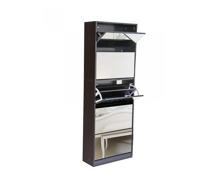 fine living mirror shoe cabinet 3 2tier wenge