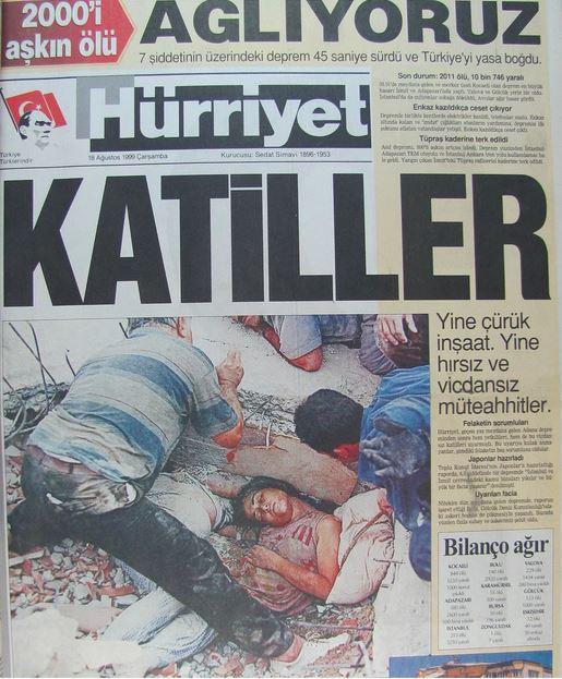 Hurriyet-gazetesi-18-agustos-1999 17 Ağustos 1999 Depreminin ertesi günü atılan manşetler