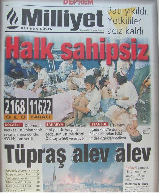 Milliyet-gazetesi-18-agustos-1999 17 Ağustos 1999 Depreminin ertesi günü atılan manşetler