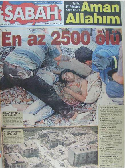 Sabah-gazetesi-18-agustos-1999 17 Ağustos 1999 Depreminin ertesi günü atılan manşetler