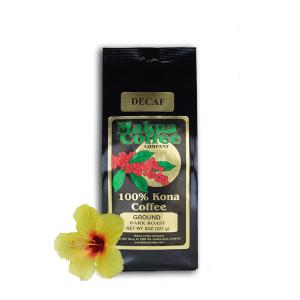 Makua Coffee Company 100% Kona Coffee Decaf Medium-Dark Roast Ground 8 oz Bag