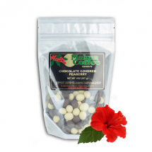 Makua Coffee Company Chocolate Covered Coffee Beans white chocolate and semi-sweet chocolate covered peaberry bean mix 8 oz bag