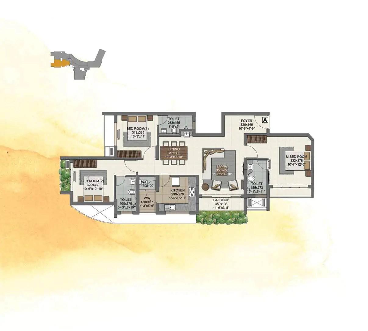 UNIT A (3 BHK) 13TH FLOOR