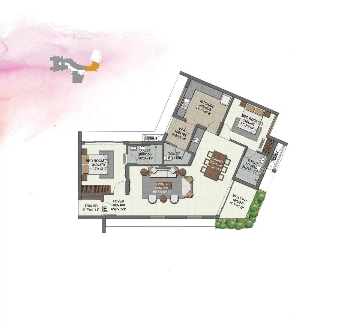 UNIT E (2 BHK) 3rd & 4th FLOORS