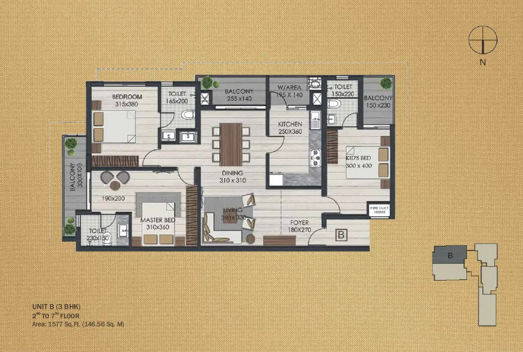 Unit B 3BHK (2nd to 7th)