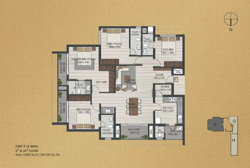 Unit F 4BHK (9th and 10th)
