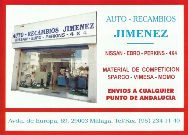 Publicidad de Auto Recambios Jiménez en Revista Local 4x4 en el año 1995.