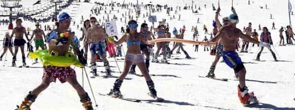 skiing in Sierra Nevada, Spain, in swimsuit