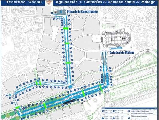 Mapa con itinerario de las procesiones de Semana Santa en Málaga