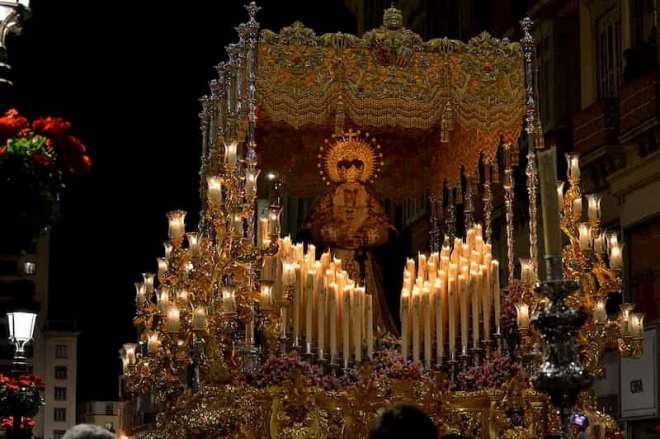 Virgin of consolation and tears throne during the Holy Week in Malaga.