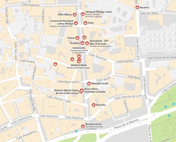 Mapa tiendas en Calle Larios