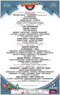Cartel de artistas del Weekend Beach Festival en Torre del Mar