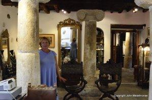 Eleni Delaroka Naxos in her Antico Veneziano shop