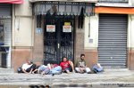 Unemployed and alcoholics gather around the Praça da Sé Sao Paulo Brazil