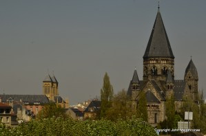 German Lutheran church in dark stone Metz