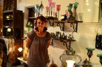 Marika in her bronze and glass shop, Rhodes Town