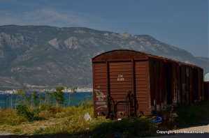 Disused train cars in Corinth