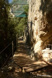 A walkway to the Chauvet cave entrance
