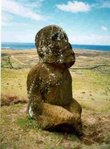 Sitting statue of Easter Island rapa nui
