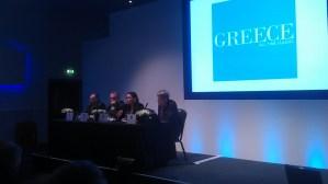 Greek Press Conference team WTM 2014: Greek Ambassador to Britain Konstantinos Bikas, GNTO General Secretary Panos Leivadas, Tourism Minister Olga Kefalogianni, Simon Calder