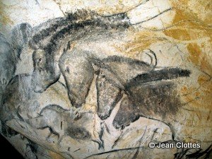 Horses panel in the Chauvet cave.